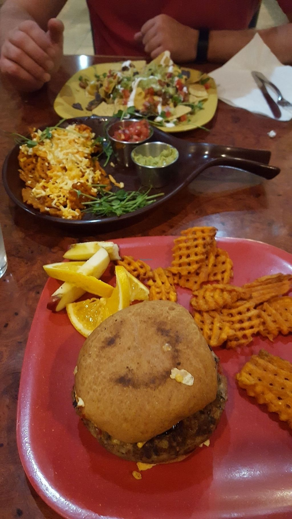 """Photo of Go Vegan Cafe  by <a href=""""/members/profile/BellaMay"""">BellaMay</a> <br/>eggplant burger, cheese fries and nachos <br/> August 8, 2017  - <a href='/contact/abuse/image/65093/388740'>Report</a>"""