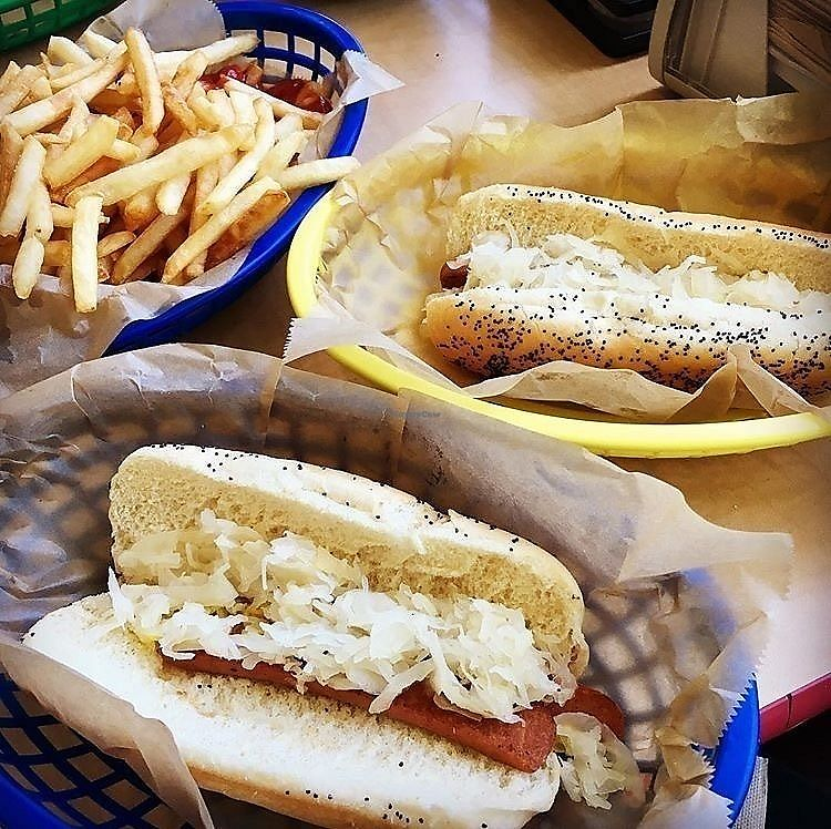 """Photo of Mustard's Last Stand - New Haven Ave  by <a href=""""/members/profile/clovely.vegan"""">clovely.vegan</a> <br/>Kraut dogs <br/> June 26, 2017  - <a href='/contact/abuse/image/65151/273525'>Report</a>"""