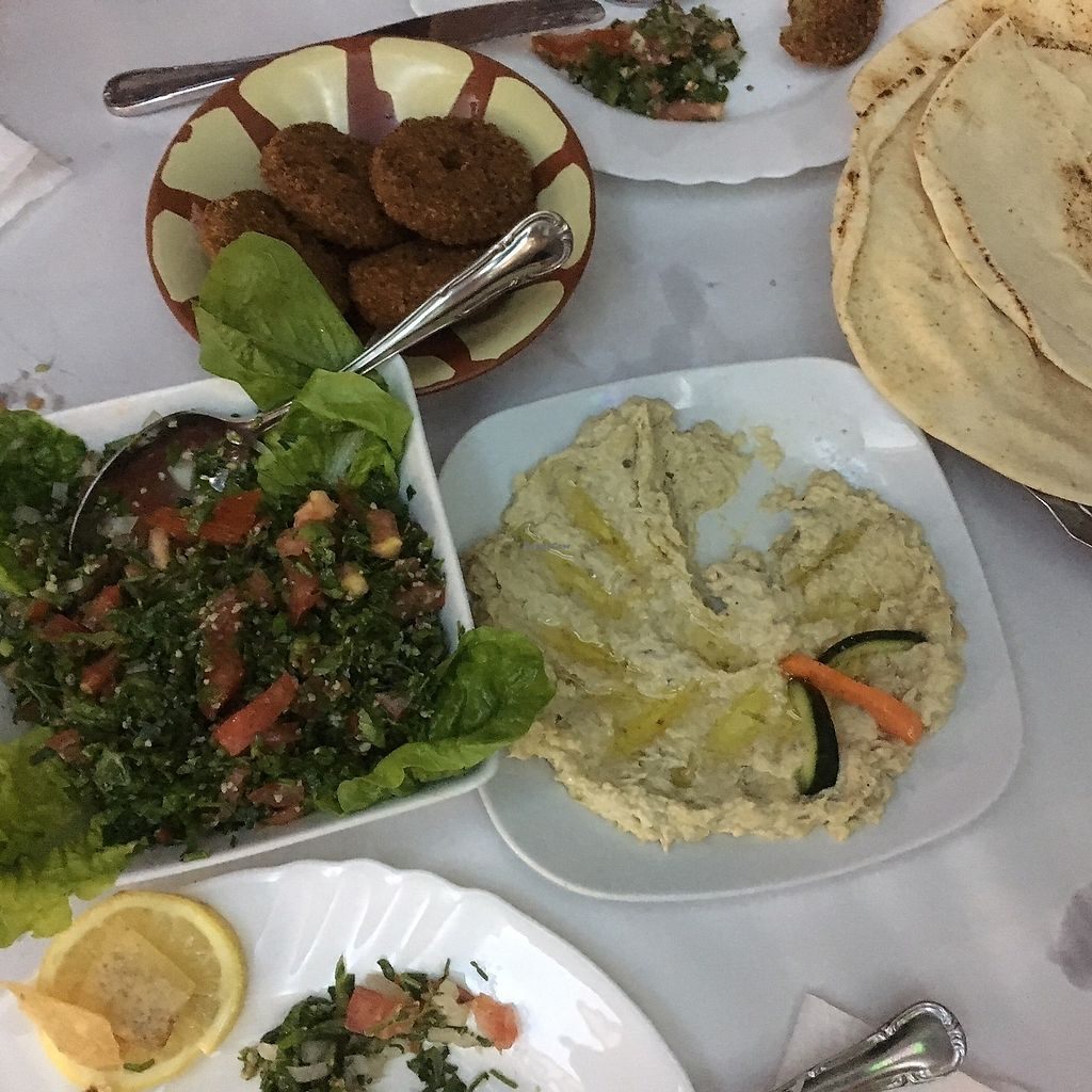 """Photo of Yamal Asham  by <a href=""""/members/profile/aami"""">aami</a> <br/>tabbouleh, falafel, bread, aubergine <br/> February 18, 2018  - <a href='/contact/abuse/image/65162/360899'>Report</a>"""