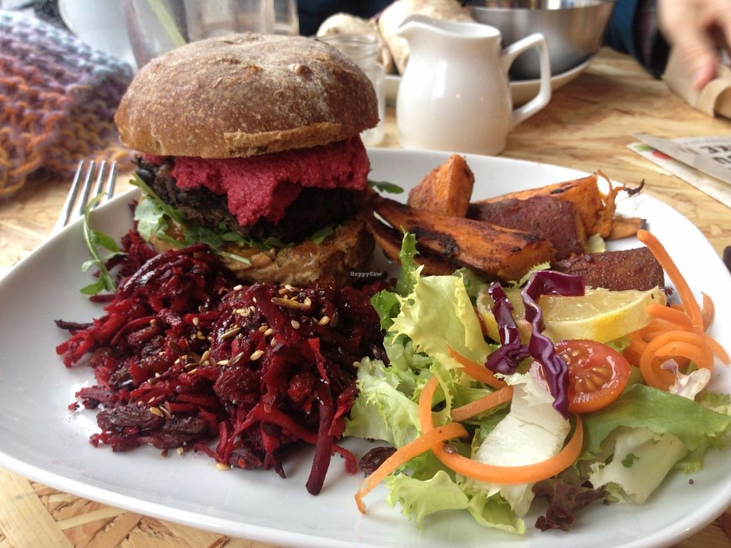 """Photo of CLOSED: Urban Zen  by <a href=""""/members/profile/isabelroo"""">isabelroo</a> <br/>Burger plus sweet potato chips and salad <br/> June 11, 2016  - <a href='/contact/abuse/image/65198/153393'>Report</a>"""