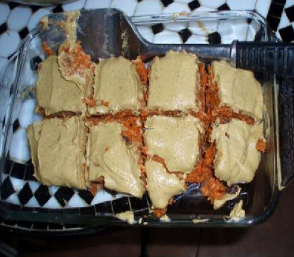 """Photo of The Treehouse For Earth's Children & Deli  by <a href=""""/members/profile/quarrygirl"""">quarrygirl</a> <br/>raw carrot cake by VeganHeartDoc <br/> December 25, 2011  - <a href='/contact/abuse/image/6520/190520'>Report</a>"""