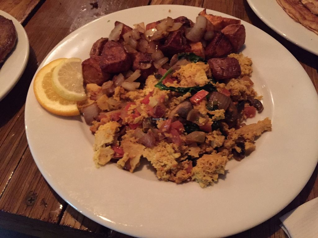 "Photo of Backwater  by <a href=""/members/profile/clovely.vegan"">clovely.vegan</a> <br/>Garden tofu scramble omelette with home fries <br/> November 5, 2015  - <a href='/contact/abuse/image/65226/123976'>Report</a>"