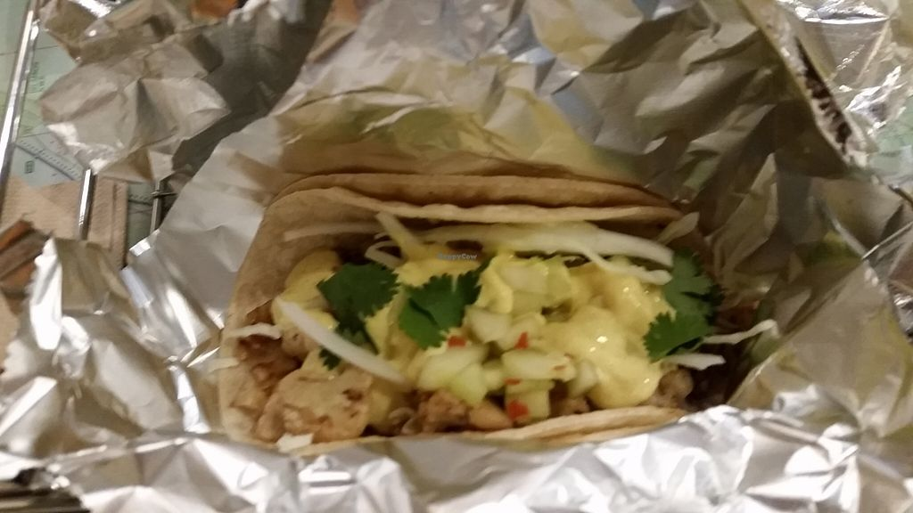 """Photo of Tangent  by <a href=""""/members/profile/mhmeritt"""">mhmeritt</a> <br/> Sampled the Roasted Cauliflower Taco. Seasoned roasted cauliflower with walnuts, shredded cabbage, pickled cucumbers, curried tofu mayo, cilantro on corn tortillas.  <br/> November 2, 2015  - <a href='/contact/abuse/image/65264/123580'>Report</a>"""