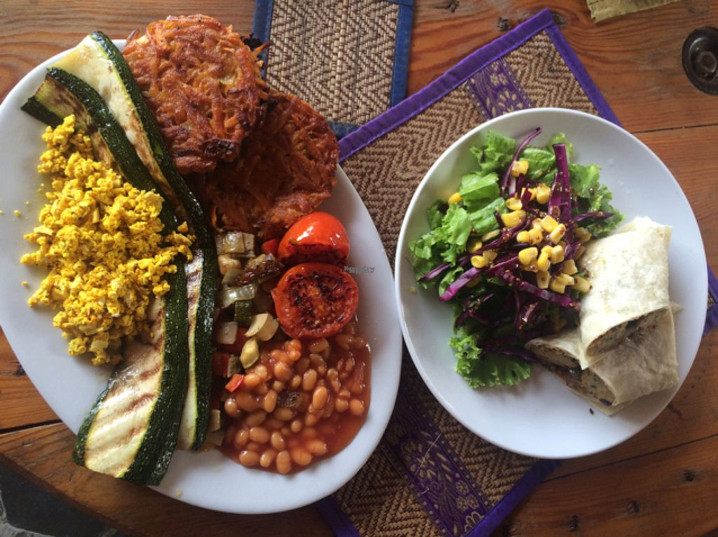 """Photo of CLOSED: Pachamama  by <a href=""""/members/profile/Nfehon"""">Nfehon</a> <br/>Vegan Breakfast Belly Buster and the Falafel wrap.  <br/> August 4, 2016  - <a href='/contact/abuse/image/65281/165275'>Report</a>"""