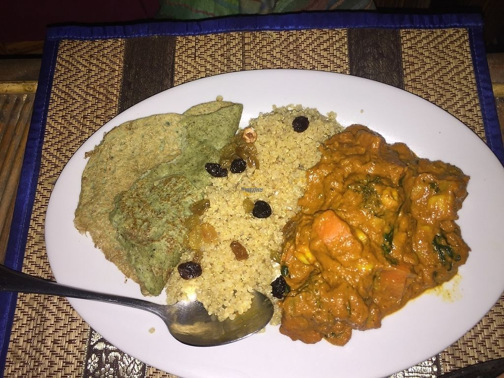 """Photo of CLOSED: Pachamama  by <a href=""""/members/profile/VeganTreeClimber"""">VeganTreeClimber</a> <br/>Coconut curry with Quinoa and bean shoot dosa <br/> January 18, 2017  - <a href='/contact/abuse/image/65281/212952'>Report</a>"""