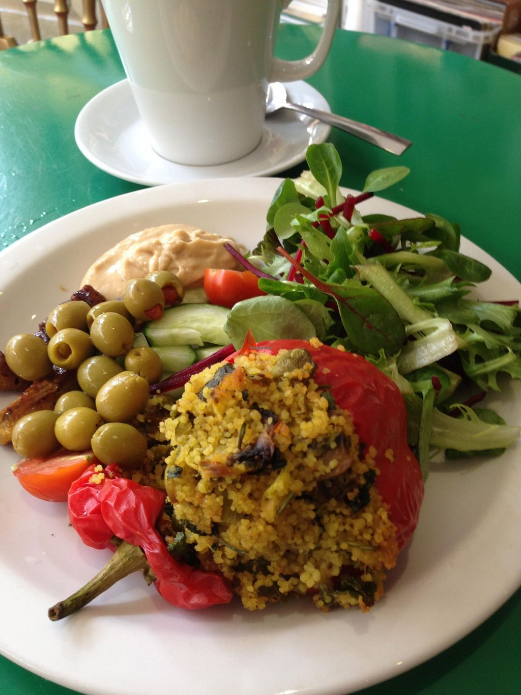 """Photo of Vinyl  by <a href=""""/members/profile/Clare"""">Clare</a> <br/>Vegan stuffed pepper and salad <br/> November 12, 2015  - <a href='/contact/abuse/image/65282/124755'>Report</a>"""