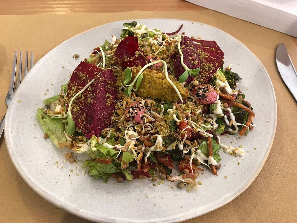 """Photo of Petit Brot - Cold Press, Raw, Eco  by <a href=""""/members/profile/JFlah"""">JFlah</a> <br/>raw falafel and duo salad daily lunch menu item <br/> August 6, 2017  - <a href='/contact/abuse/image/65288/289608'>Report</a>"""