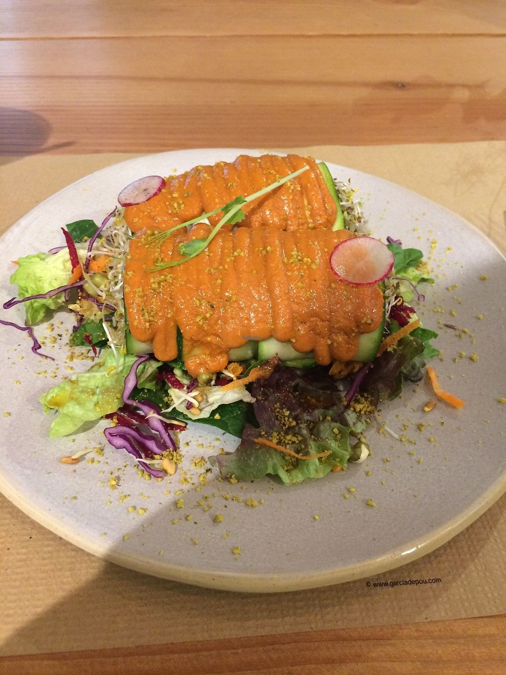 """Photo of Petit Brot - Cold Press, Raw, Eco  by <a href=""""/members/profile/sabrinajh"""">sabrinajh</a> <br/>Raw vegan cannelloni. Red pepper coulis on top and stuffed with creamy mushroom sauce.  <br/> December 31, 2017  - <a href='/contact/abuse/image/65288/341454'>Report</a>"""