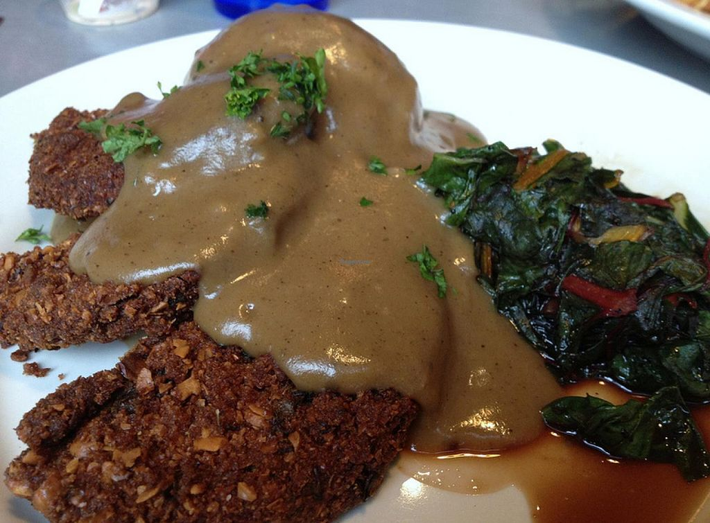 Photo of Comet Cafe  by RamblingVegans <br/>Vegan salisbury steak <br/> March 2, 2014  - <a href='/contact/abuse/image/6528/65113'>Report</a>