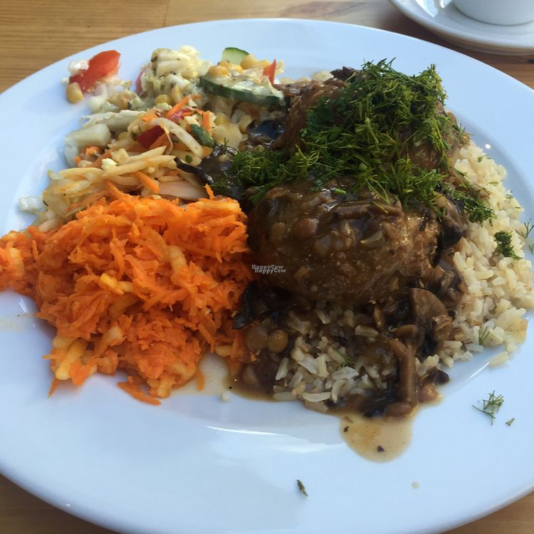"Photo of CLOSED: Vege Bar  by <a href=""/members/profile/The%20London%20Vegan"">The London Vegan</a> <br/>soya cutlets with mushroom sauce, salad and rice <br/> September 21, 2016  - <a href='/contact/abuse/image/65314/177168'>Report</a>"