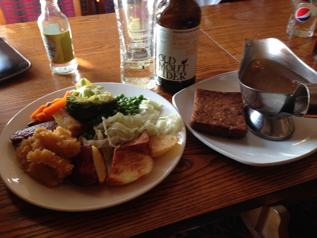 """Photo of Wherry Hotel  by <a href=""""/members/profile/Lornaowl"""">Lornaowl</a> <br/>roast veggies, nut roast and vegan gravy <br/> November 4, 2015  - <a href='/contact/abuse/image/65335/123822'>Report</a>"""