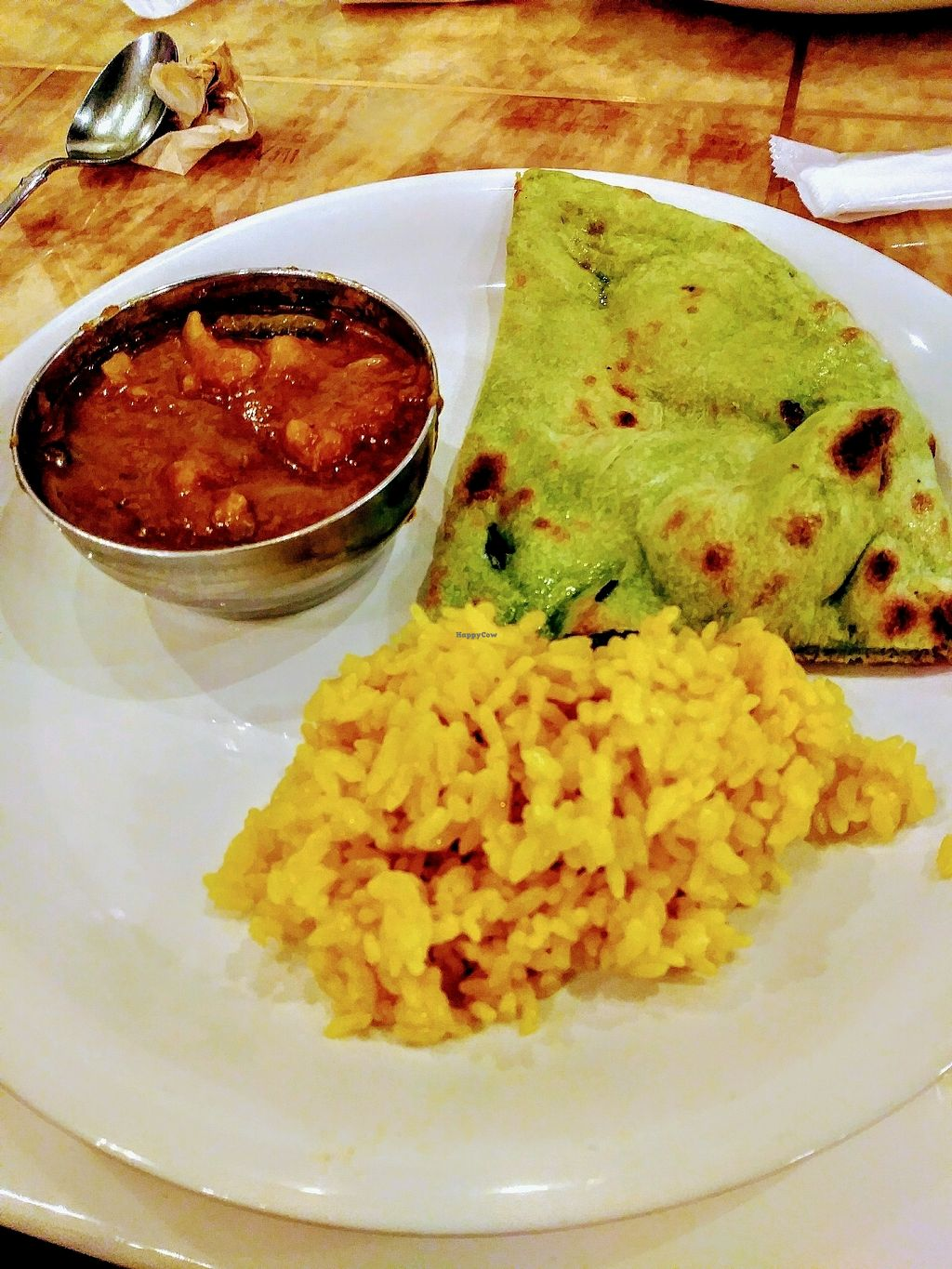 """Photo of Milan Nataraj Shibuya  by <a href=""""/members/profile/AaronMG"""">AaronMG</a> <br/>veg curry, tumeric rice, and vegan naan <br/> April 2, 2018  - <a href='/contact/abuse/image/65365/379796'>Report</a>"""