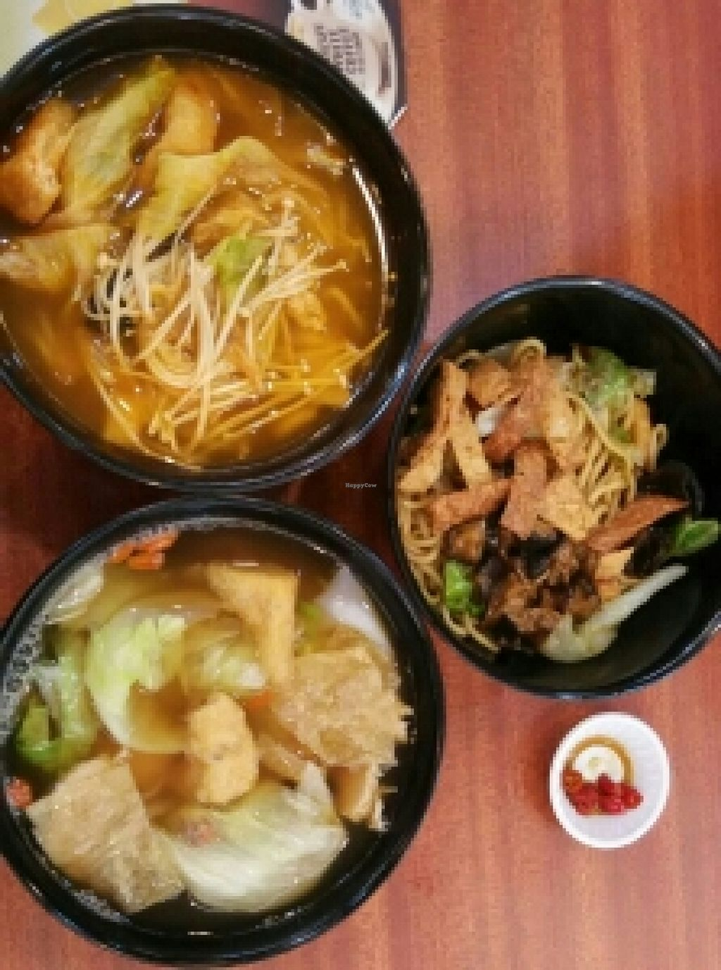"Photo of CLOSED: One Peace Vegan  by <a href=""/members/profile/JimmySeah"">JimmySeah</a> <br/>from top. Kimchi ramen, mushroom dry ramen, herbal kway chap <br/> November 28, 2015  - <a href='/contact/abuse/image/65376/126395'>Report</a>"