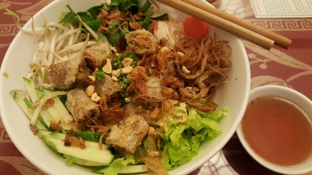 """Photo of CLOSED: Pho Nam Chay  by <a href=""""/members/profile/Refinnej"""">Refinnej</a> <br/>Bun Cha Gio (Vermicelli topped with lettuce, herbs, veggies, mock meat and fried spring rolls.) <br/> November 4, 2015  - <a href='/contact/abuse/image/65378/123920'>Report</a>"""