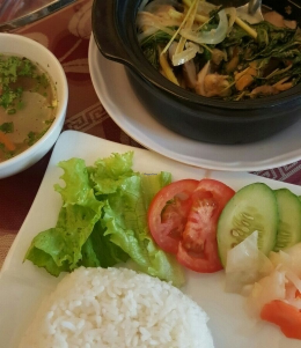 """Photo of CLOSED: Pho Nam Chay  by <a href=""""/members/profile/Refinnej"""">Refinnej</a> <br/>Com Thai Thap Cam: Mushroom and veggies stewed in Thai spices with lemongrass. Served with rice and soup <br/> November 4, 2015  - <a href='/contact/abuse/image/65378/123927'>Report</a>"""