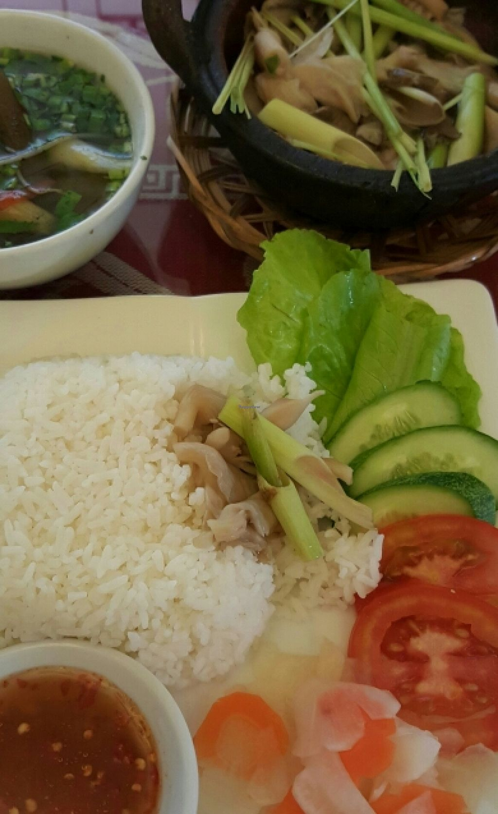 """Photo of CLOSED: Pho Nam Chay  by <a href=""""/members/profile/Refinnej"""">Refinnej</a> <br/>Com Bao Ngu Thap Cam - Oyster mushrooms steamed with lemon grass and other veg <br/> November 4, 2015  - <a href='/contact/abuse/image/65378/123931'>Report</a>"""