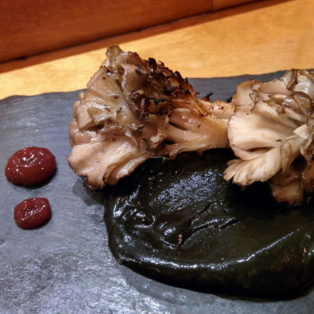 "Photo of Arami  by <a href=""/members/profile/makemenervous"">makemenervous</a> <br/>Charcoal grilled maitake mushrooms with black sesame paste and a pickled plum sauce.  <br/> November 5, 2015  - <a href='/contact/abuse/image/65389/124028'>Report</a>"