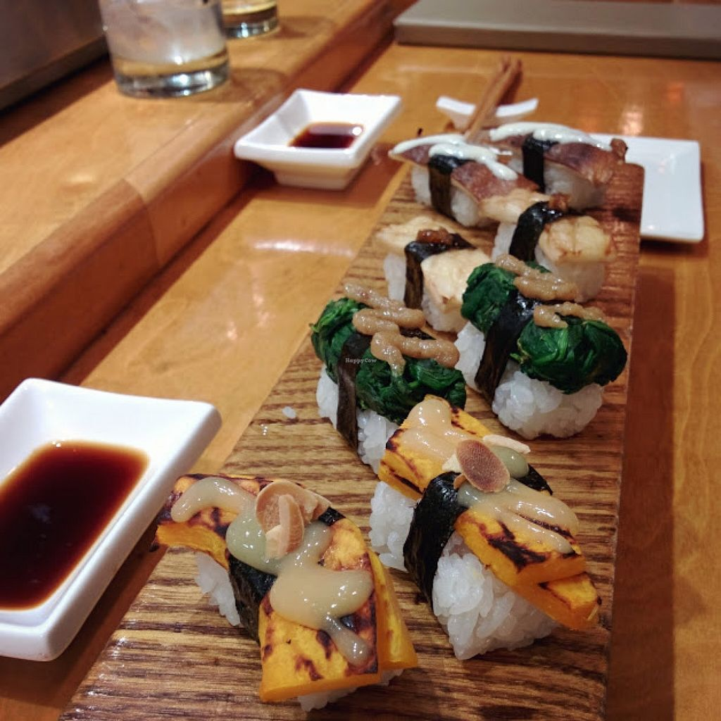 "Photo of Arami  by <a href=""/members/profile/makemenervous"">makemenervous</a> <br/>Nigiri platter - squash, spinach, king oyster mushroom, and shiitake mushroom.  <br/> November 5, 2015  - <a href='/contact/abuse/image/65389/124032'>Report</a>"