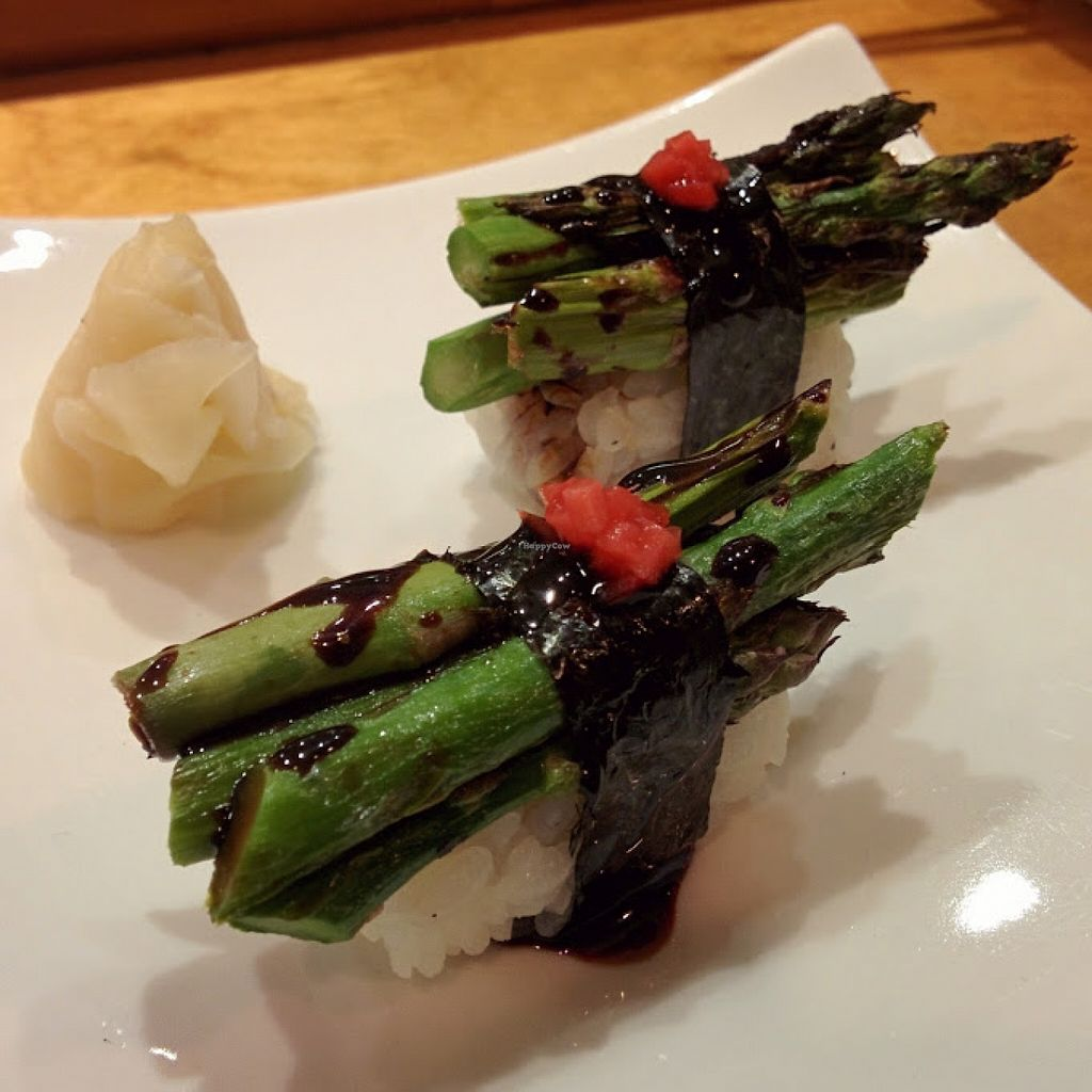 "Photo of Arami  by <a href=""/members/profile/makemenervous"">makemenervous</a> <br/>Asparagus nigiri with sweet soy sauce and red pickled ginger.  <br/> November 5, 2015  - <a href='/contact/abuse/image/65389/124033'>Report</a>"