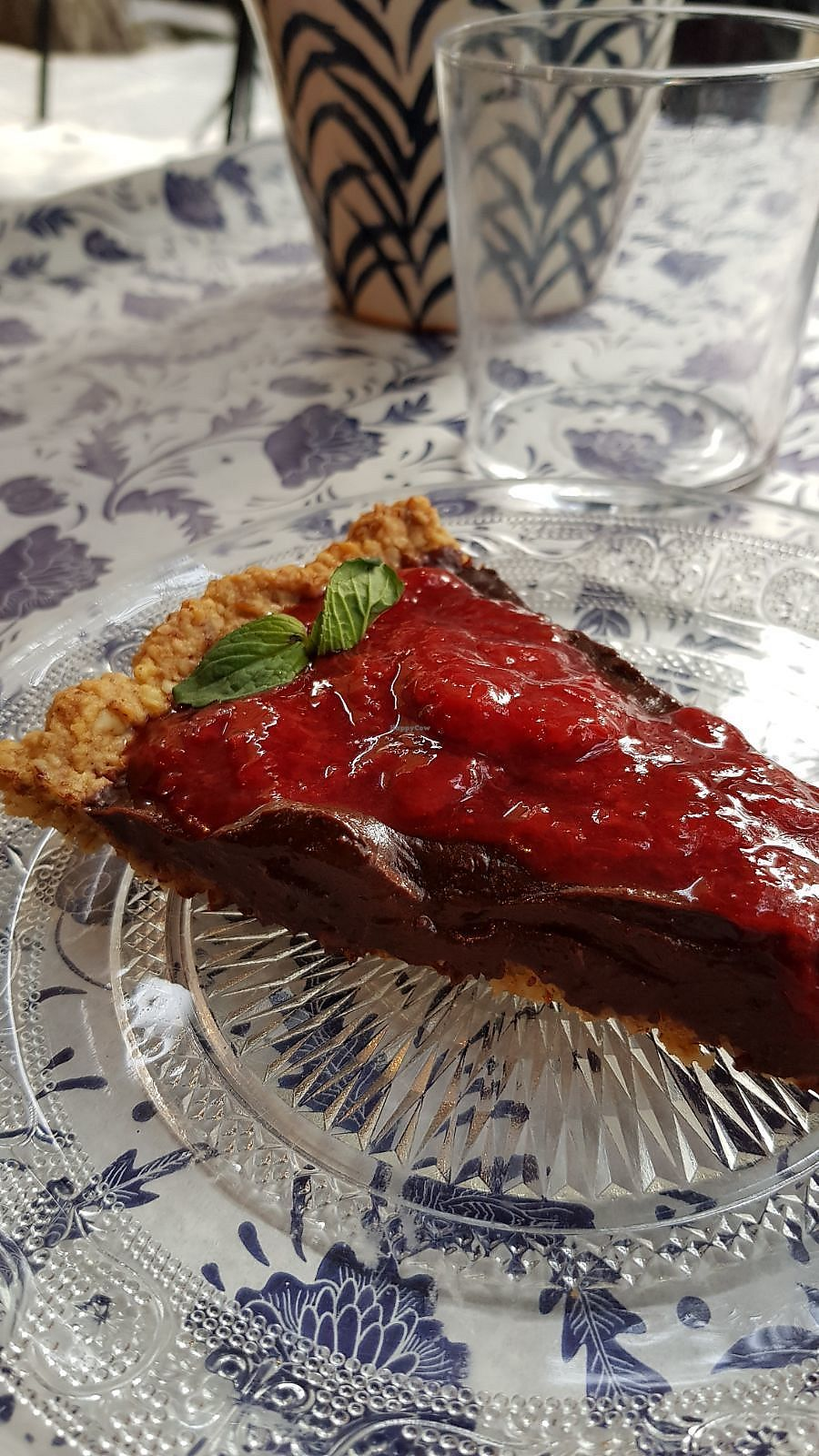 """Photo of Baba Ghanoush Falafel Shop  by <a href=""""/members/profile/vegan.goddammit"""">vegan.goddammit</a> <br/>chocolate cake with strawberry sauce <br/> March 9, 2018  - <a href='/contact/abuse/image/65407/368622'>Report</a>"""