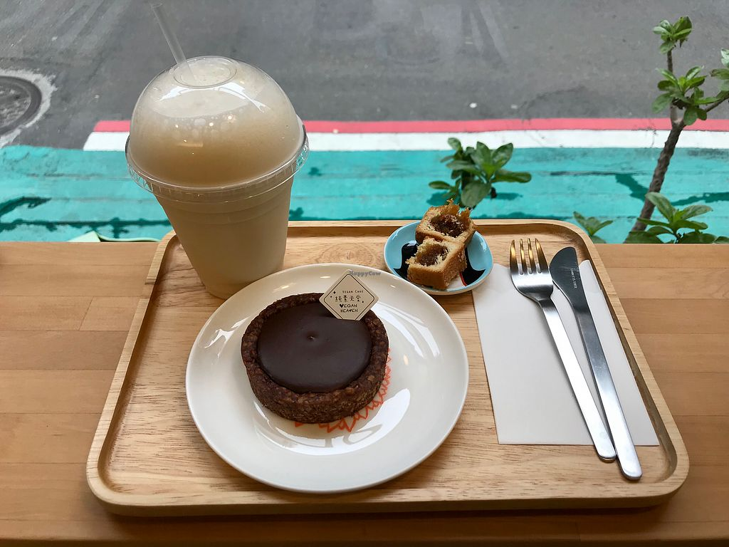 """Photo of Vegan Heaven  by <a href=""""/members/profile/Subra"""">Subra</a> <br/>Chocolate tart with ginger soy late <br/> March 3, 2018  - <a href='/contact/abuse/image/65408/366080'>Report</a>"""