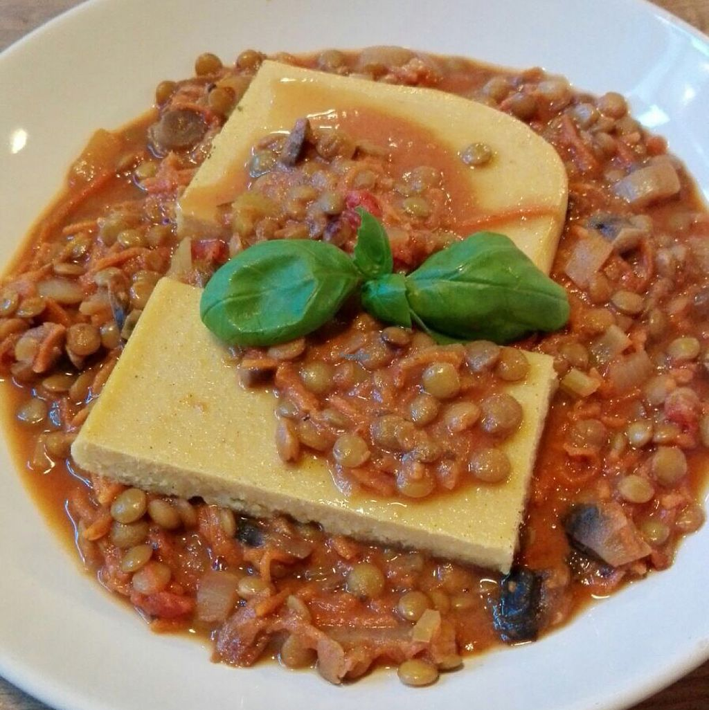 """Photo of Mihiderka  by <a href=""""/members/profile/KarolinaMa"""">KarolinaMa</a> <br/>lentils in tomato sauce with chickpea-corn polenta <br/> March 26, 2017  - <a href='/contact/abuse/image/65437/241409'>Report</a>"""