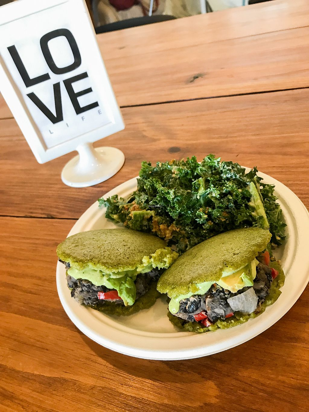 "Photo of Love Life Wellness Center & Cafe  by <a href=""/members/profile/Bono17"">Bono17</a> <br/>plant powered arepas!  <br/> August 10, 2017  - <a href='/contact/abuse/image/65465/291281'>Report</a>"