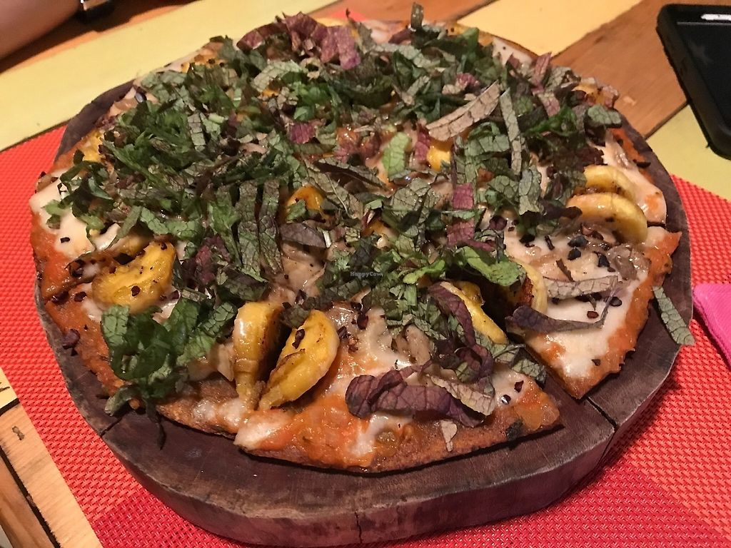 "Photo of Clorofila Green & Vegan  by <a href=""/members/profile/EvelisseCap%C3%B3"">EvelisseCapó</a> <br/>Pizza with greens, mushrooms and sweet plantains <br/> May 29, 2017  - <a href='/contact/abuse/image/65474/263944'>Report</a>"