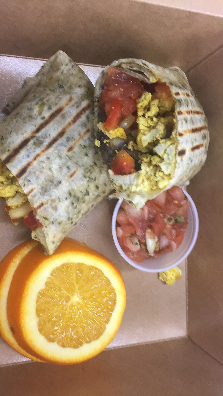 """Photo of The Nourish Cafe  by <a href=""""/members/profile/MAKay"""">MAKay</a> <br/>Vegan Breakfast Burrito  <br/> January 20, 2018  - <a href='/contact/abuse/image/65498/349061'>Report</a>"""