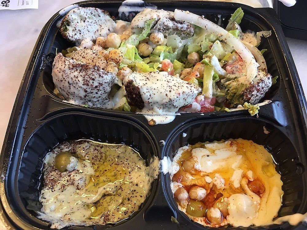 """Photo of Yassin's Falafel House - Walnut St  by <a href=""""/members/profile/AlexandraPhillips"""">AlexandraPhillips</a> <br/>Spicy falafel platter with hummus and baba ganoush <br/> October 11, 2017  - <a href='/contact/abuse/image/65504/314343'>Report</a>"""