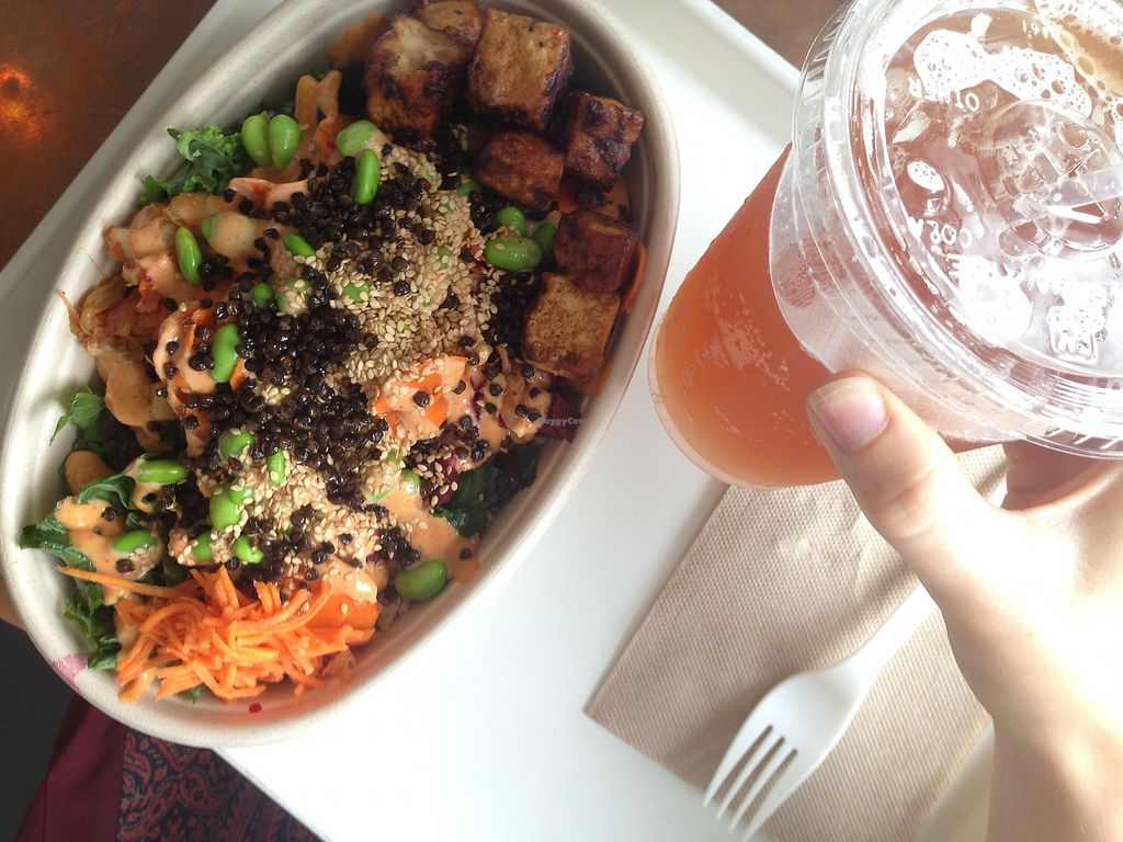 """Photo of Whole Heart Provisions  by <a href=""""/members/profile/TheModernHerbivore"""">TheModernHerbivore</a> <br/>seoul bowl with BBQ miso tofu and a strawberry sage kombucha <br/> August 9, 2017  - <a href='/contact/abuse/image/65508/290649'>Report</a>"""