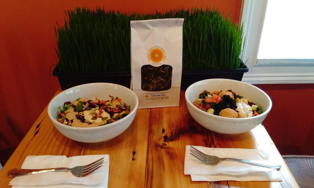 """Photo of Right Path Organic Cafe  by <a href=""""/members/profile/Christine3232"""">Christine3232</a> <br/>Fresh made 'Cheesy' Kale chips, wheatgrass shots made to order, creative bowls and beautiful salads with in-house hand made vegan sauces & dressings.  <br/> November 19, 2015  - <a href='/contact/abuse/image/65514/125463'>Report</a>"""