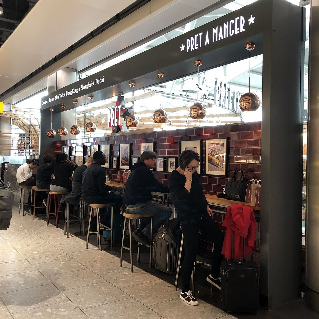 "Photo of Pret A Manger - Heathrow Airport  by <a href=""/members/profile/TARAMCDONALD"">TARAMCDONALD</a> <br/>Exterior of eatery, eat in (if you can get a seat) or takeaway <br/> April 15, 2018  - <a href='/contact/abuse/image/65535/386291'>Report</a>"