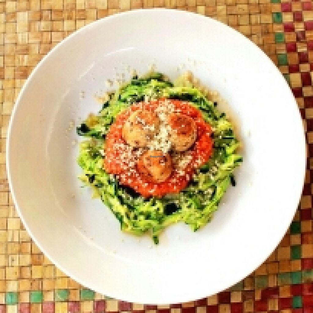 """Photo of Pituq Cafe  by <a href=""""/members/profile/tigovege"""">tigovege</a> <br/>zoodles with veggie balls and tomato sauce <br/> November 10, 2015  - <a href='/contact/abuse/image/65540/124562'>Report</a>"""