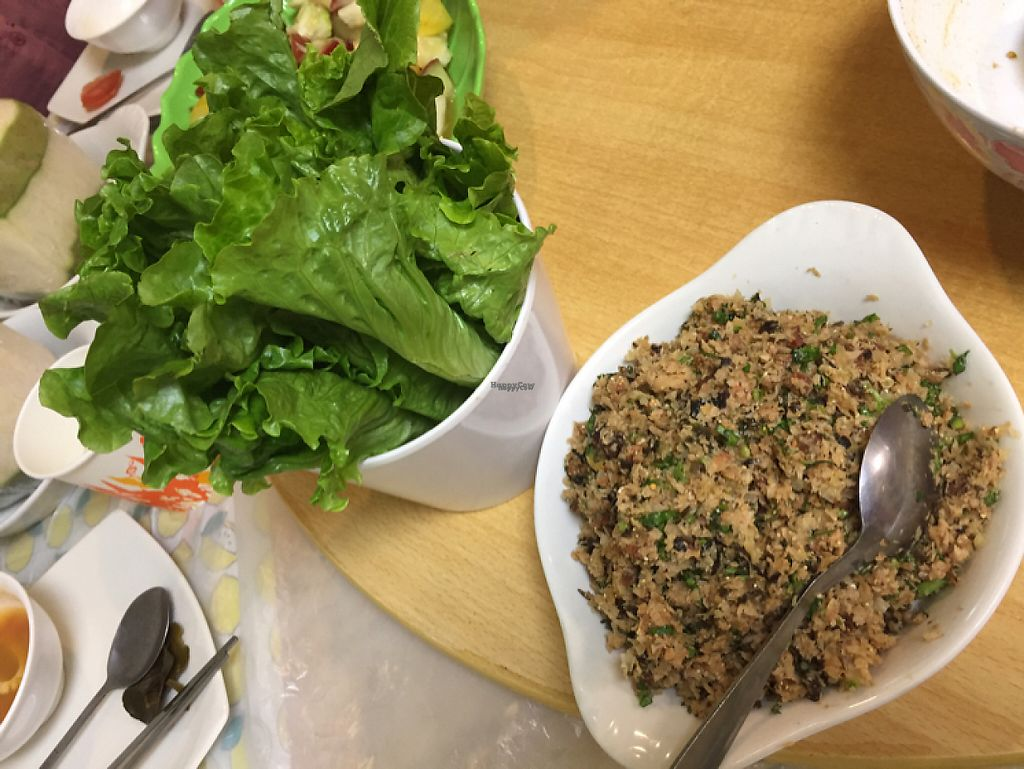 """Photo of Cheng Si Jie Thai Private Kitchen  by <a href=""""/members/profile/SamanthaIngridHo"""">SamanthaIngridHo</a> <br/>Stir-fried minced soy meat wrapped in lettuce <br/> December 19, 2016  - <a href='/contact/abuse/image/65551/202894'>Report</a>"""
