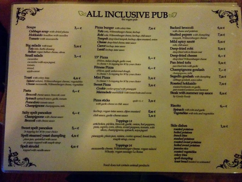 "Photo of CLOSED: All Inclusive Pub  by <a href=""/members/profile/elchrist"">elchrist</a> <br/>Menu <br/> May 31, 2016  - <a href='/contact/abuse/image/65552/151621'>Report</a>"