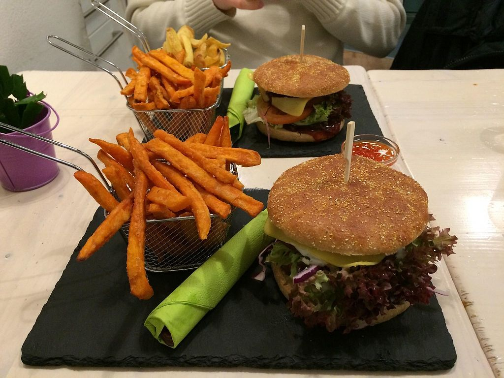 """Photo of Veggiezz - Am Salzgriess  by <a href=""""/members/profile/BarBar"""">BarBar</a> <br/>Seitan burgers with sweet potato fries <br/> January 17, 2018  - <a href='/contact/abuse/image/65561/347771'>Report</a>"""