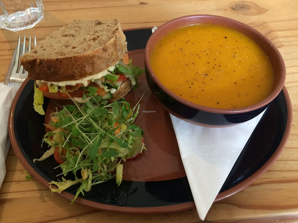 "Photo of The Veggie Cafe  by <a href=""/members/profile/Hoggy"">Hoggy</a> <br/>Half and half portions of soup and sandwich. Soup of the day and crisp veg and houmous butty, served with small, fresh salad <br/> June 20, 2017  - <a href='/contact/abuse/image/65575/271528'>Report</a>"