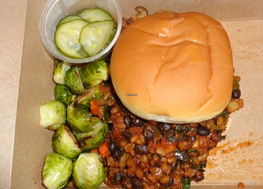 """Photo of Crumb & Spigot  by <a href=""""/members/profile/GeaugaVegan"""">GeaugaVegan</a> <br/>Vegan sloppy joe takeout with roasted brussels sprouts side <br/> August 24, 2016  - <a href='/contact/abuse/image/65576/216166'>Report</a>"""