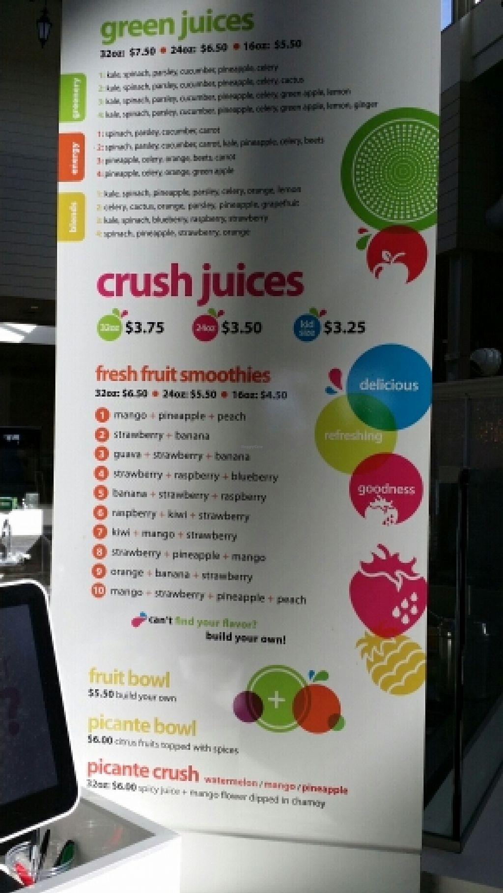"Photo of Green Crush  by <a href=""/members/profile/catbone"">catbone</a> <br/>Menu Board, January 2016 <br/> January 20, 2016  - <a href='/contact/abuse/image/65587/133137'>Report</a>"