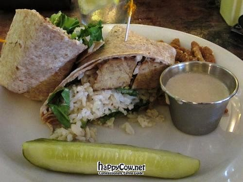 "Photo of Lulu's on Main  by <a href=""/members/profile/Julie%20R"">Julie R</a> <br/>Vegan Tempeh Wrap with Basmati Rice and Tahini Dressing <br/> July 20, 2012  - <a href='/contact/abuse/image/6559/34711'>Report</a>"