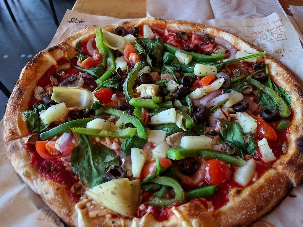 """Photo of Blaze Pizza  by <a href=""""/members/profile/pattib"""">pattib</a> <br/>Blaze Pizza with vegan cheese and veggies <br/> March 31, 2017  - <a href='/contact/abuse/image/65612/243165'>Report</a>"""
