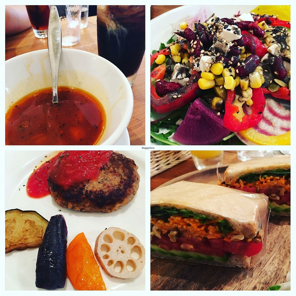 """Photo of Longing House  by <a href=""""/members/profile/MuraliTumahai"""">MuraliTumahai</a> <br/>Minestrone soup (comes with toast), salad buffet, salad sandwich, soy patty with roasted veg. All delicious <br/> July 15, 2017  - <a href='/contact/abuse/image/65638/280547'>Report</a>"""