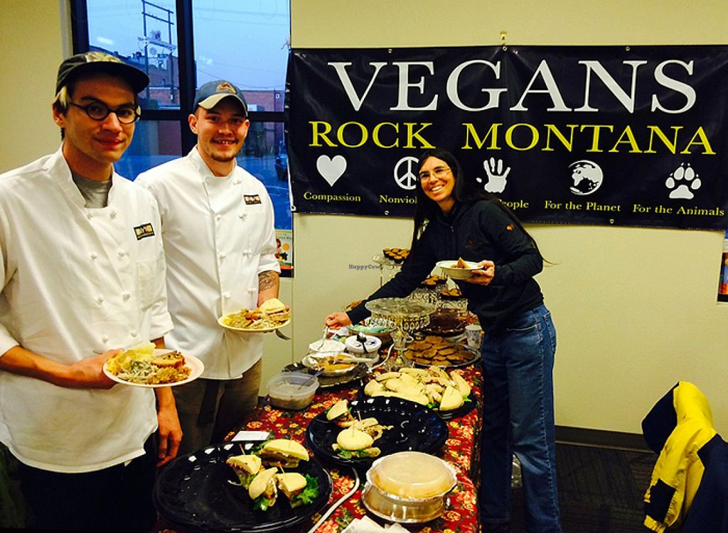 """Photo of Starky's Authentic Americana  by <a href=""""/members/profile/Bonnie%20Goodman"""">Bonnie Goodman</a> <br/>Starky's Alic and Chef Brock at the Live and Let Livingston monthly potluck this November; introducing their new creation:  The Vegan Gobbler! <br/> November 10, 2015  - <a href='/contact/abuse/image/65676/124556'>Report</a>"""