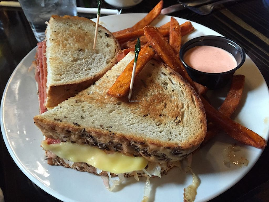 """Photo of Starky's Authentic Americana  by <a href=""""/members/profile/MTveggal"""">MTveggal</a> <br/>Terrific vegan reuben with a side of sweet potato fries <br/> June 4, 2016  - <a href='/contact/abuse/image/65676/152194'>Report</a>"""
