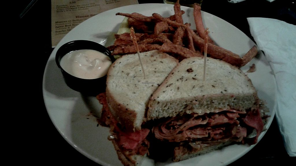 """Photo of Starky's Authentic Americana  by <a href=""""/members/profile/JeffBlatnick"""">JeffBlatnick</a> <br/>Reuben Sandwich with sweet potatoes fries <br/> August 13, 2017  - <a href='/contact/abuse/image/65676/292180'>Report</a>"""