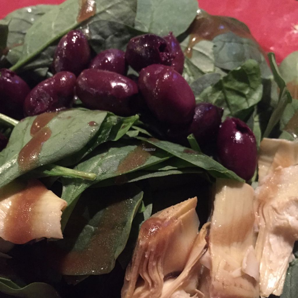 """Photo of Tomato Bar Pizza Bakery  by <a href=""""/members/profile/happycowgirl"""">happycowgirl</a> <br/>Build-Your-Own Salad with spinach, kalamata olives & artichokes <br/> August 1, 2016  - <a href='/contact/abuse/image/65691/164022'>Report</a>"""