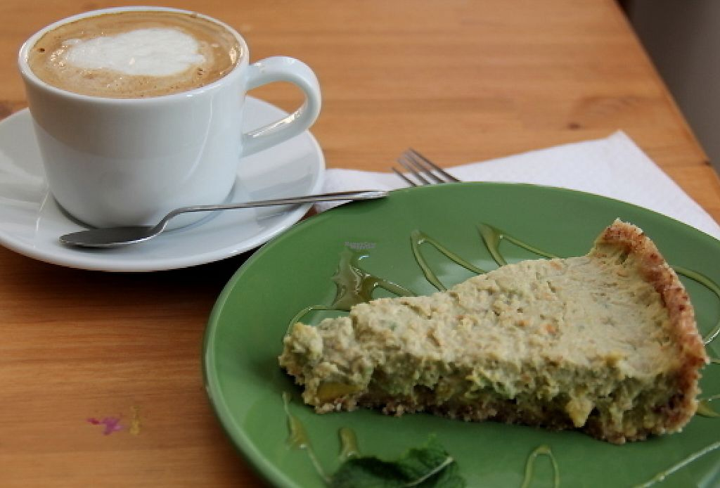 """Photo of Dona Flor Cafe  by <a href=""""/members/profile/reissausta%20ja%20ruokaa"""">reissausta ja ruokaa</a> <br/>Cappucino with vegan milk and raw avocado pie.  <br/> August 10, 2016  - <a href='/contact/abuse/image/65709/240658'>Report</a>"""