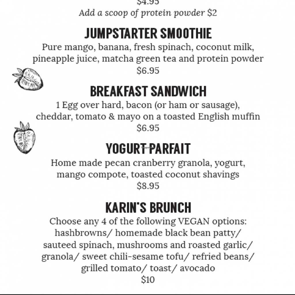 """Photo of Shine Cafe  by <a href=""""/members/profile/Cathryn.S"""">Cathryn.S</a> <br/>Karin's Brunch has all vegan options <br/> November 13, 2015  - <a href='/contact/abuse/image/65712/124827'>Report</a>"""