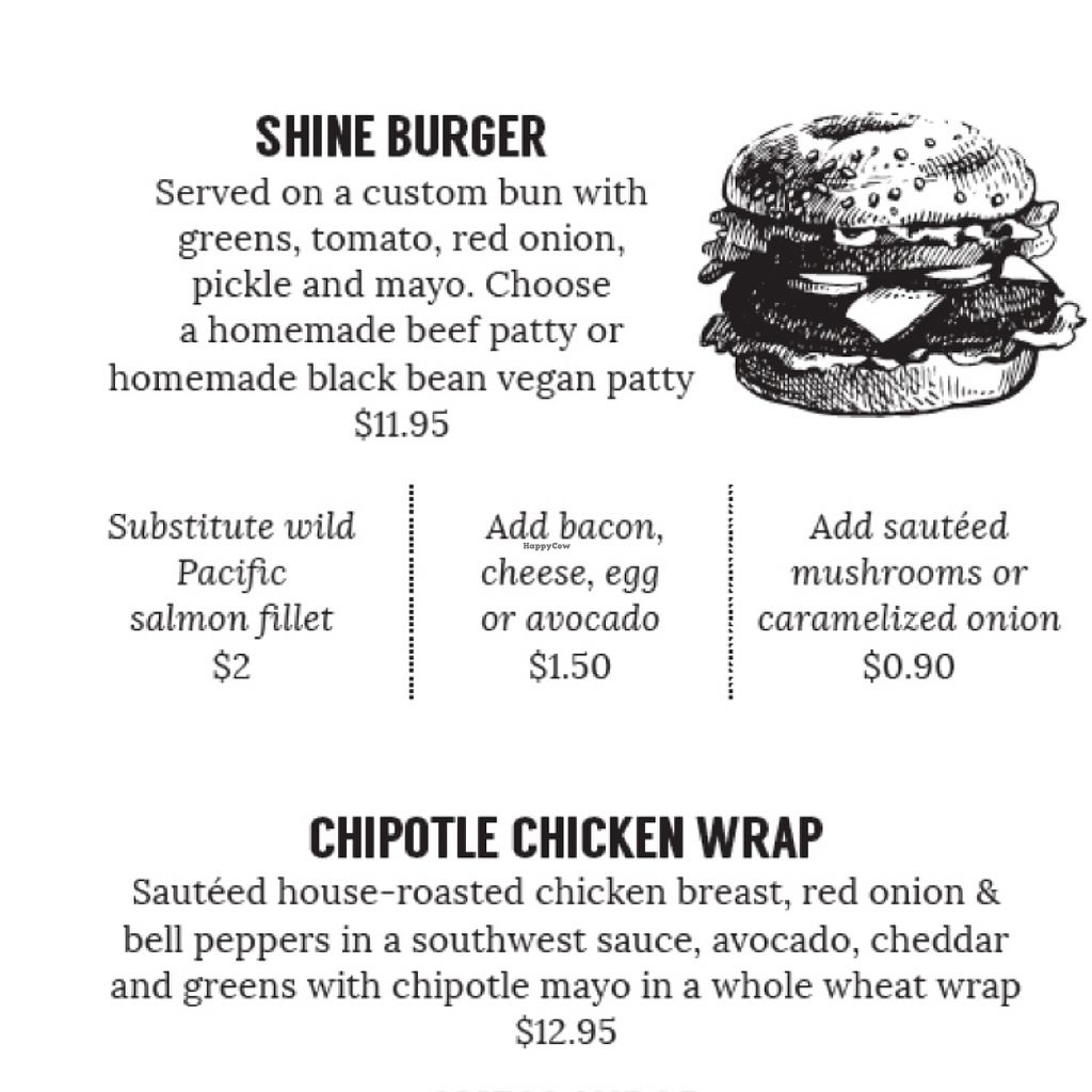"""Photo of Shine Cafe  by <a href=""""/members/profile/Cathryn.S"""">Cathryn.S</a> <br/>you can get the shine burger with a vegan black bean patty! (just ask for it without Mayo) <br/> November 13, 2015  - <a href='/contact/abuse/image/65712/124828'>Report</a>"""